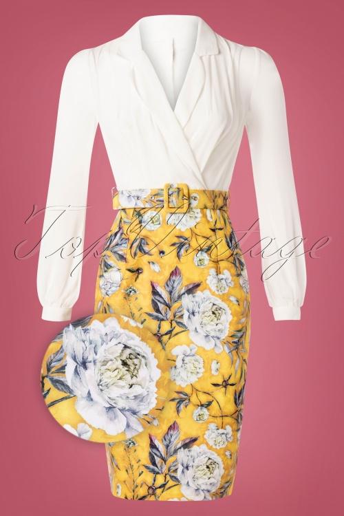 Paper Dolls 30331 2 in 1 Yellow Flower Print Pencil Dress 20190827 003Z