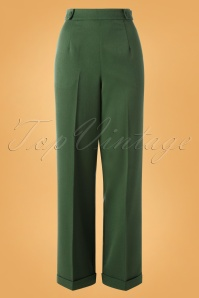 Party On Classy Trousers Années 40 en Vert Sapin