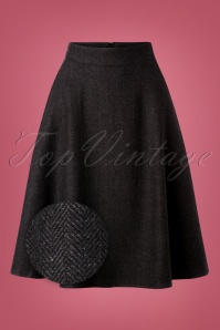 40s Shirley Swing Skirt in Herringbone Grey