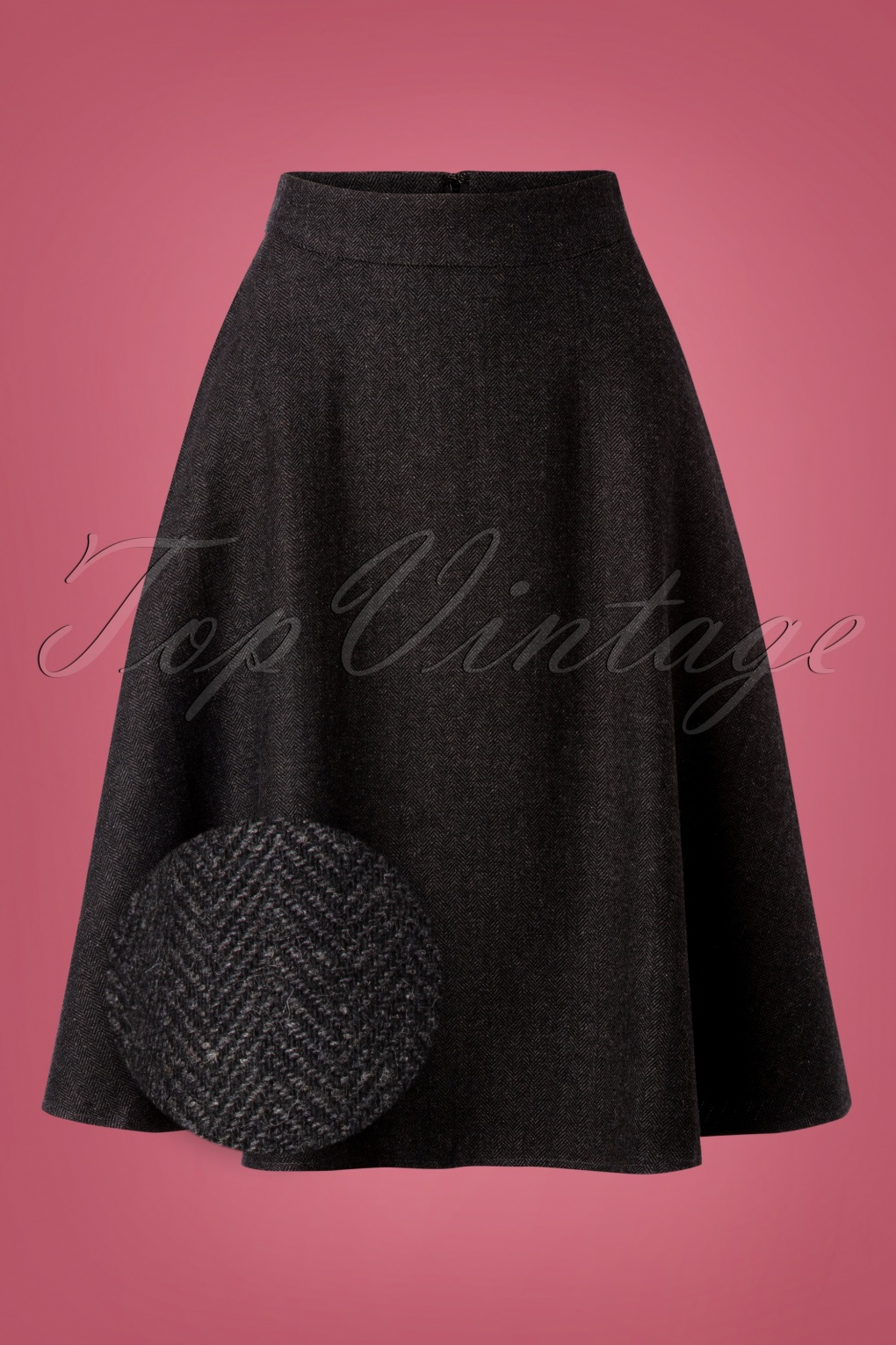 1940s Style Skirts- Vintage High Waisted Skirts 40s Shirley Swing Skirt in Herringbone Grey £45.04 AT vintagedancer.com