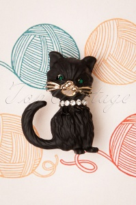 50s Black Kitty Brooch