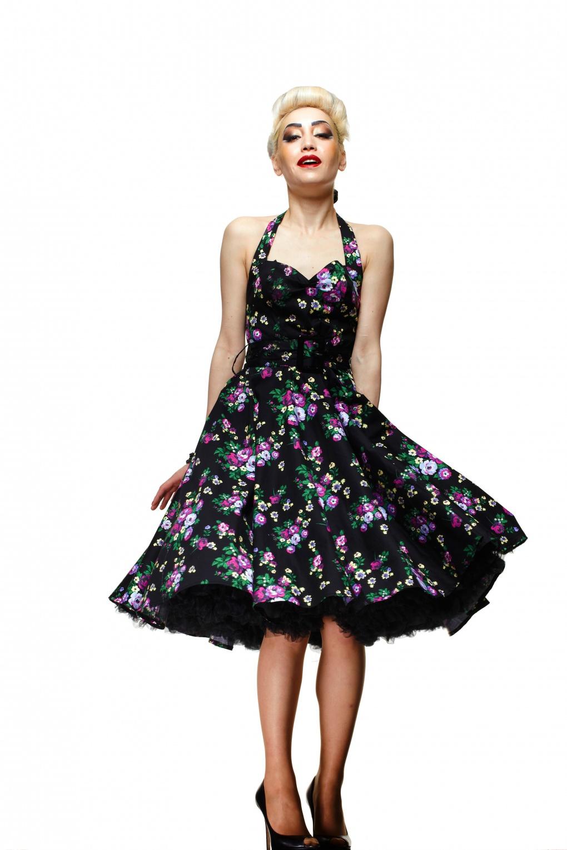 50s Retro Halter May Day Black Swing Dress