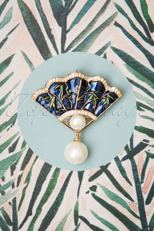1940s Costume Jewelry: Necklaces, Earrings, Brooch, Bracelets 40s Vintage Fan Brooch in Night Blue £16.00 AT vintagedancer.com