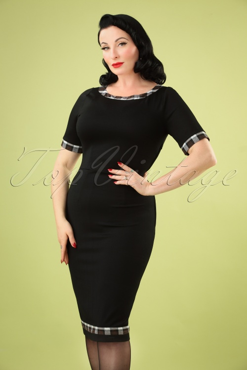 Banned Retro 30694Check Trim Dress Black 20190603 040MW