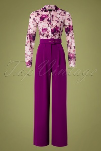 60s Rosabella Floral Jumpsuit in Purple