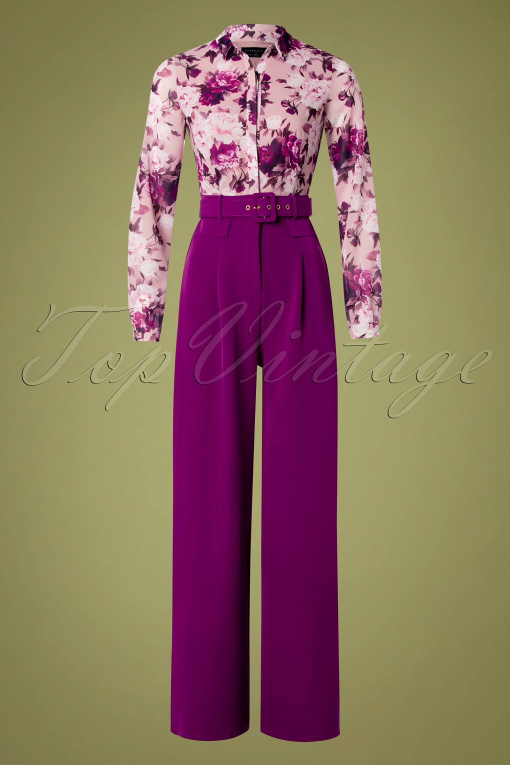 1960s Style Dresses, Clothing, Shoes UK 60s Rosabella Floral Jumpsuit in Purple £90.97 AT vintagedancer.com