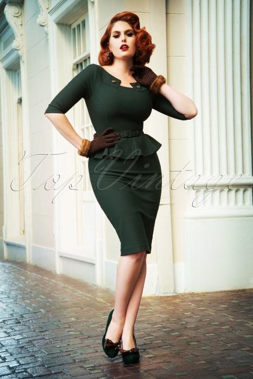 Vintage Diva 29609 Irene Pencil Dress in Green 2W