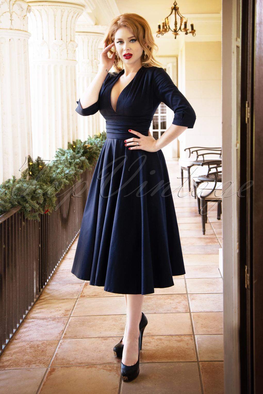 163585 Vintage Diva 29611 Lily Swing Dress in Midnight Blue 20190410 2 full Stunning Blue Dresses