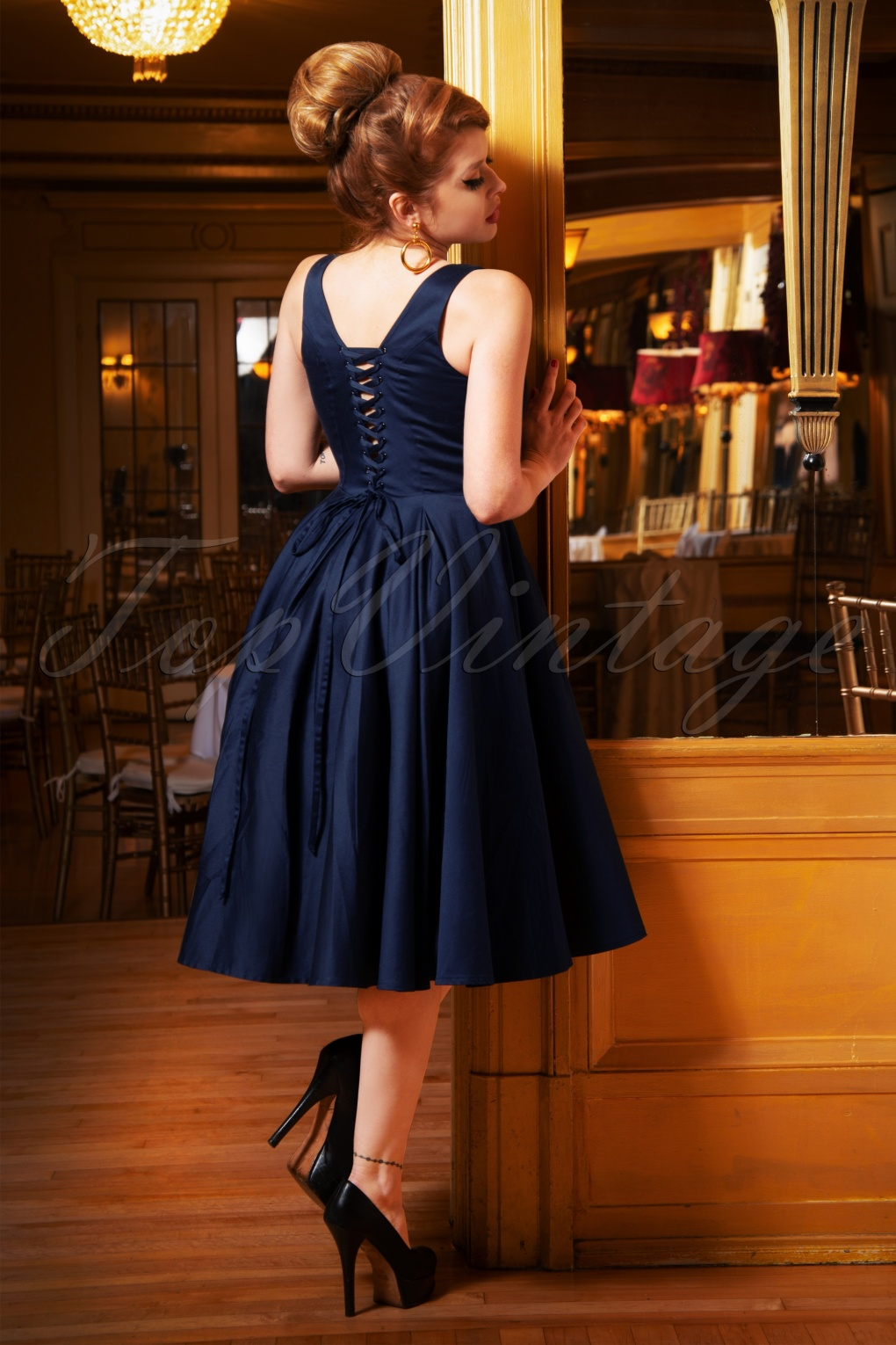 1960s Style Dresses, Clothing, Shoes UK The Zoey Swing Dress in Night Blue £118.11 AT vintagedancer.com