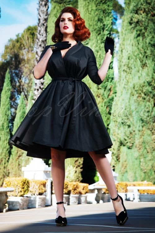 Vintage Diva 29627 Angie Swing Dress in Black 20190410 3W