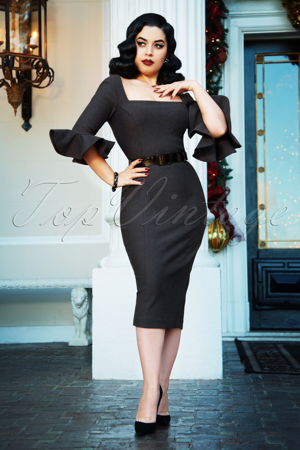 1950s Prom Dresses & Party Dresses The Fay Pencil Dress in Grey £97.96 AT vintagedancer.com