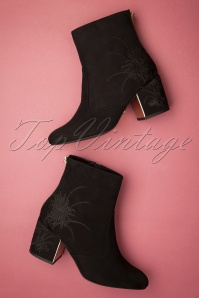 60s Marley Embroidered Ankle Booties in Black