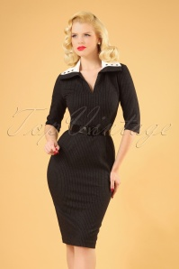 The Allie Pinstripe Pencil Dress in Black