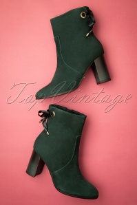 60s Jessi Ankle Booties in Bottle Green
