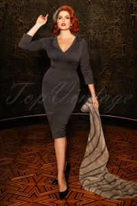 Vintage Diva 29612 Amy Pencil Dress in Grey 20190408 1W