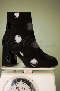 Come On Eileen Polkadot Booties Années 60 en Noir