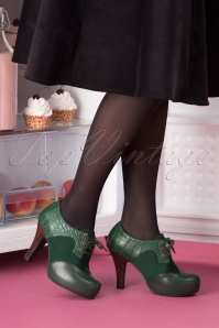 50s Angie Make It Happen Shoe Booties in Bottle Green