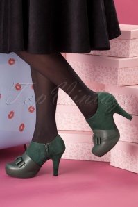 50s Angie Take A Bow Shoe Booties in Bottle Green