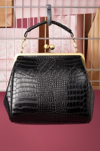 50s Mindy Crocodile Tears Handbag in Black