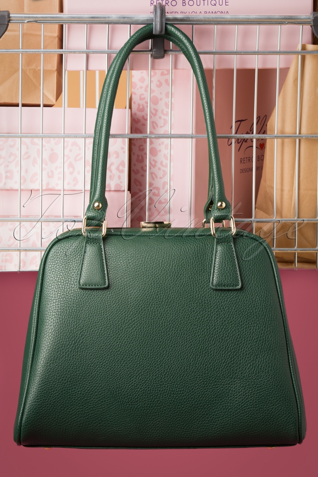 1950s Handbags, Purses, and Evening Bag Styles 50s Peggy Means Business Handbag in Bottle Green £51.09 AT vintagedancer.com