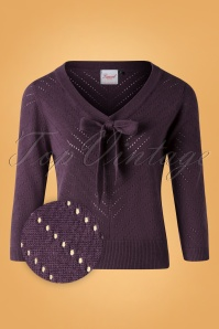 50s Charlie Chevron Top in Aubergine