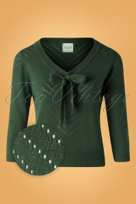 50s Charlie Chevron Top in Dark Green