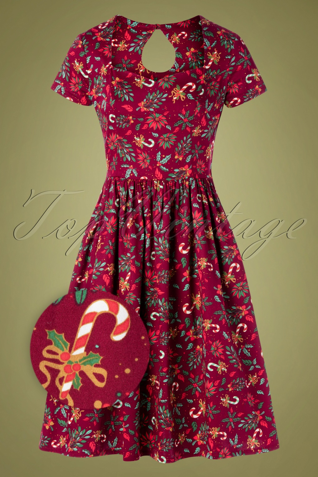 Vintage Christmas Gift Ideas for Women 50s Mistletoe and Wine Dress in Burgundy £46.30 AT vintagedancer.com