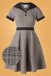 50s Happy Check Diner Dress in Grey