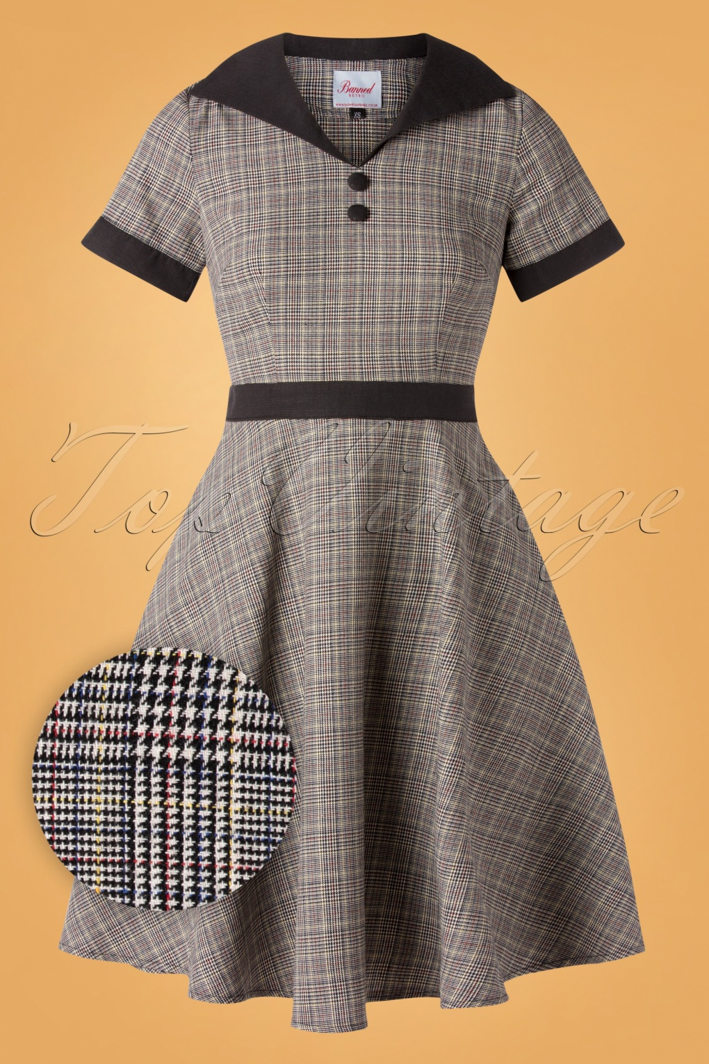 Fifties Dresses : 1950s Style Swing to Wiggle Dresses 50s Happy Check Diner Dress in Grey £47.22 AT vintagedancer.com