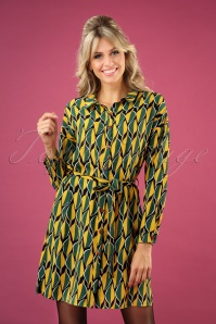 60s Ragtime Leaf Shirt Dress in Green