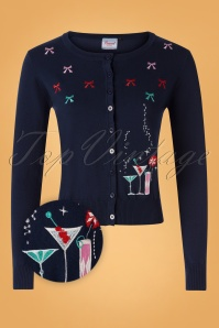 50s Christmas Cocktails Cardigan in Navy