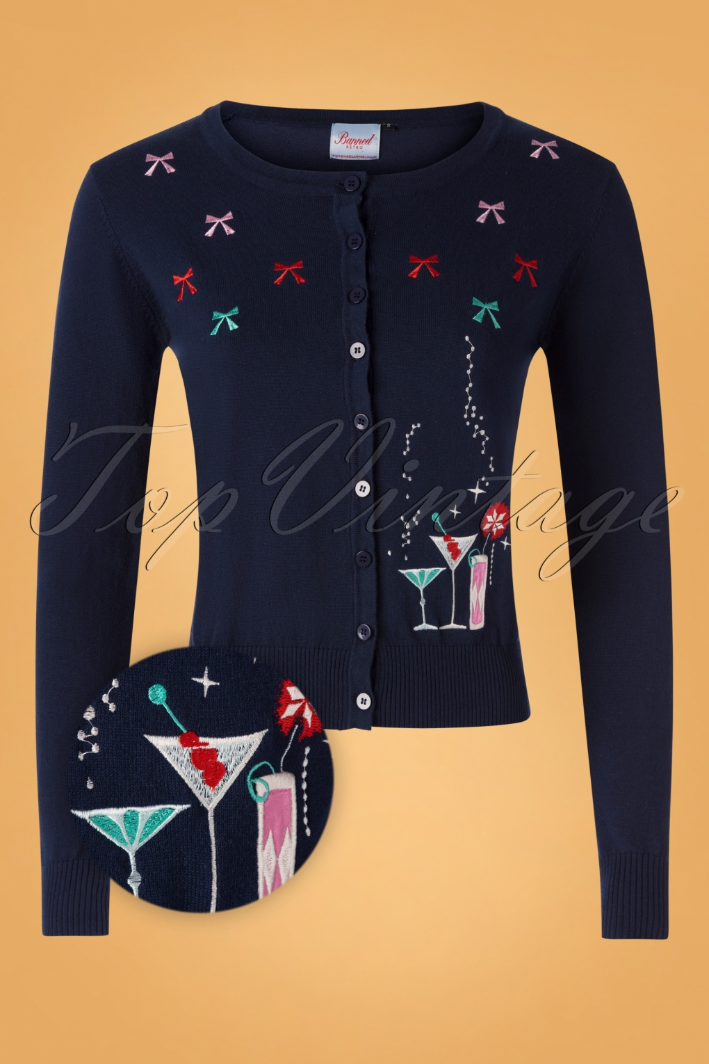 1950s Sweaters, 50s Cardigans, 50s Jumpers 50s Christmas Cocktails Cardigan in Navy £37.22 AT vintagedancer.com