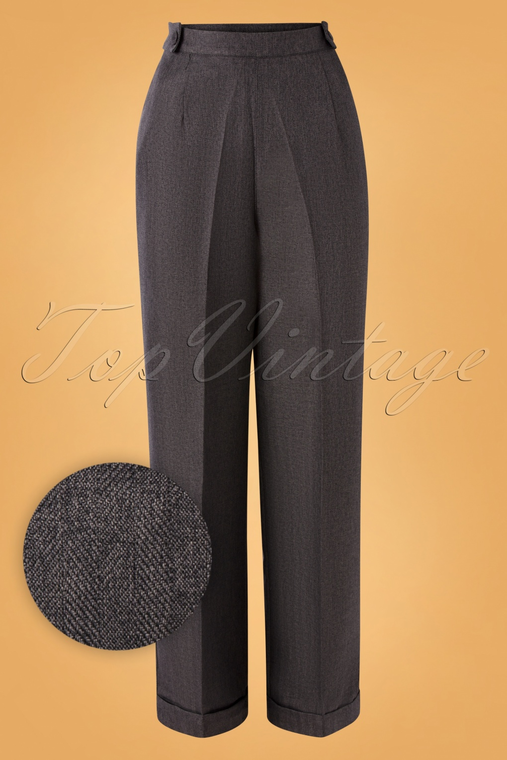Vintage High Waisted Trousers, Sailor Pants, Jeans 40s Work It Out Trousers in Grey £41.07 AT vintagedancer.com