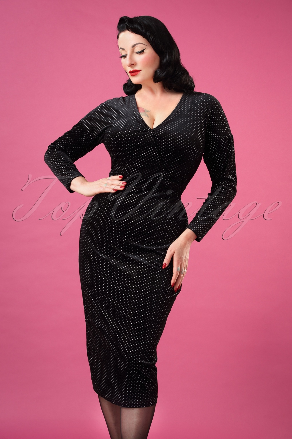 500 Vintage Style Dresses for Sale | Vintage Inspired Dresses 50s Metal Polka Velvet Pencil Dress in Black £27.35 AT vintagedancer.com