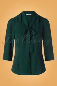 50s Perfect Bow Blouse in Dark Green