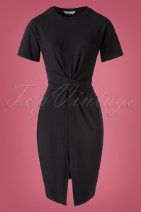 50s Hailey Tie Front Jersey Dress in Black