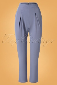 50s Wear Me Everywhere Trousers in Dusty Blue