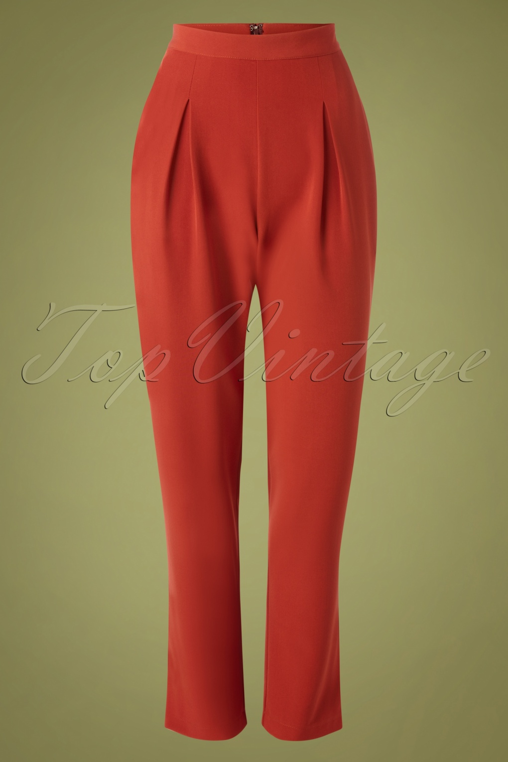 1950s Pants History for Women 50s Wear Me Everywhere Trousers in Brick Orange £35.52 AT vintagedancer.com