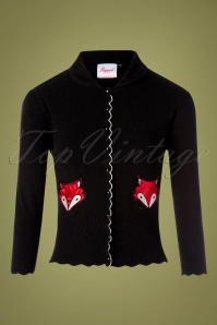 60s Foxy Fox Pocket Cardigan in Black