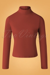 60s Jersey Turtle Neck Top in Brick