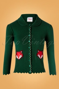 60s Foxy Fox Pocket Cardigan in Dark Green
