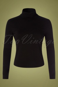 60s Jersey Turtle Neck Top in Black