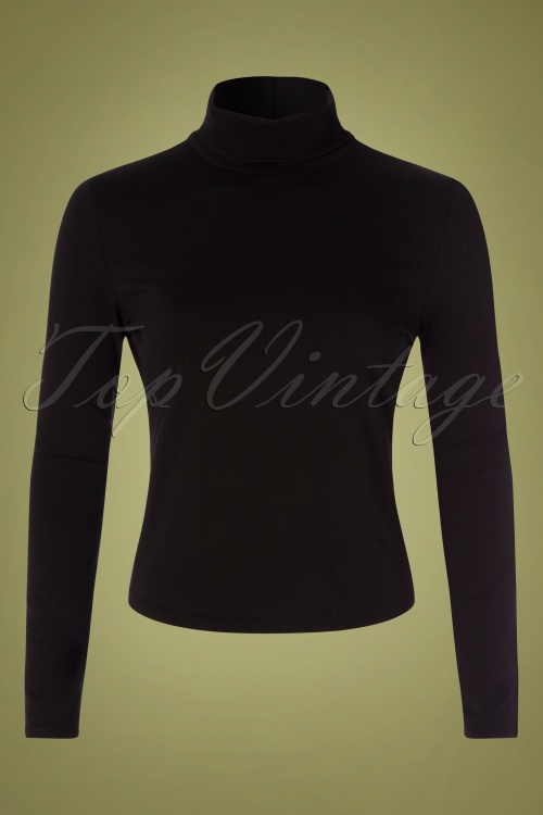 Banned 30669 60s Jersey Turtle Neck in Black 20190626 003W
