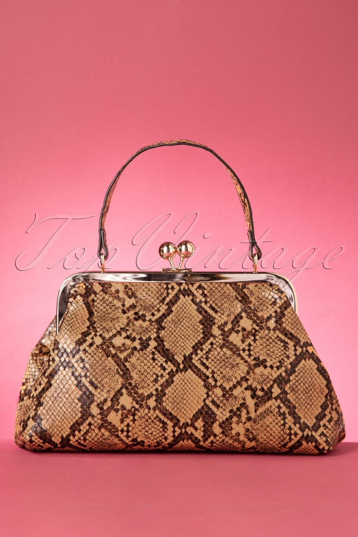 Vintage Handbags, Purses, Bags *New* 50s Doris Snake Bag in Brown £38.30 AT vintagedancer.com