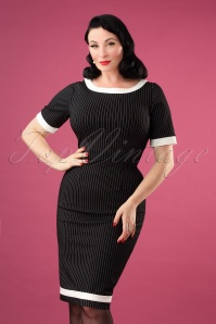 50s Work It Out Pinstripe Pencil Dress in Black