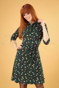 60s Eloise Party A-Line Dress in Forest Green