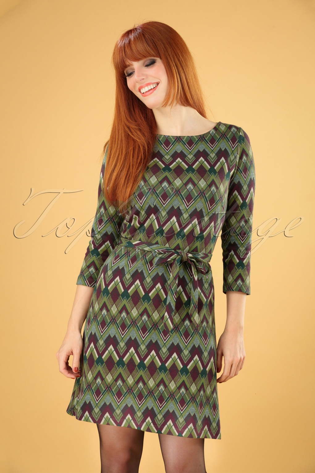 Vintage Inspired Dresses & Clothing UK 60s Zoe Skye Dress in Posey Green £80.18 AT vintagedancer.com