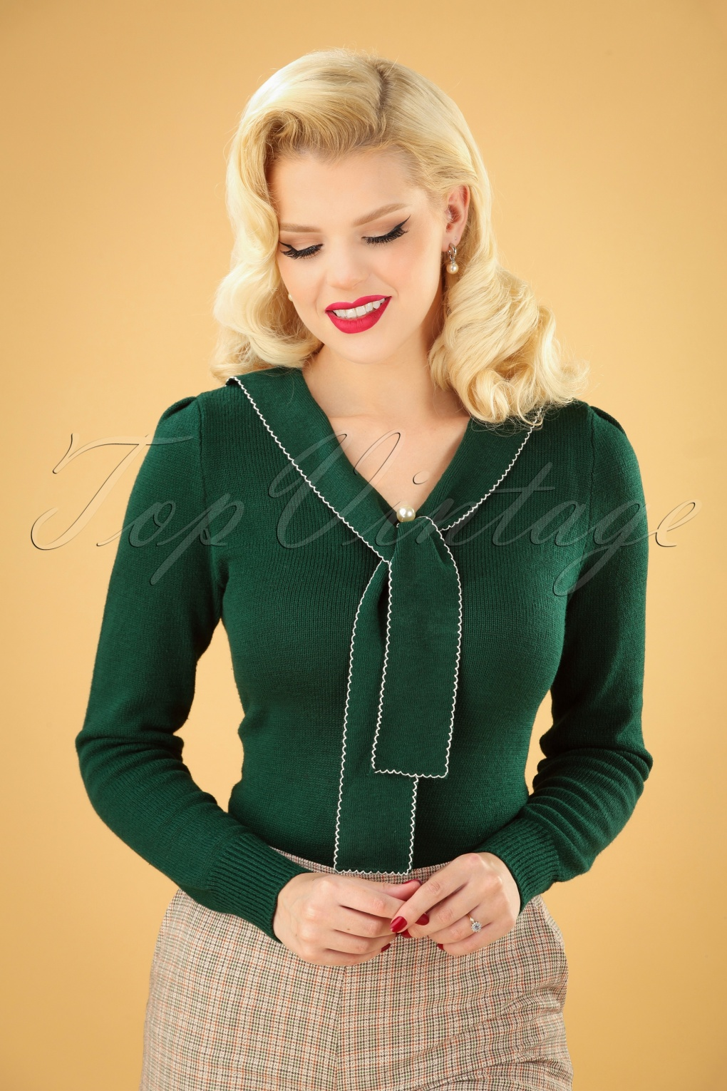 Vintage Inspired Dresses & Clothing UK 40s Connie Jumper in Dark Green £35.61 AT vintagedancer.com