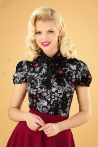 50s Fantasia Blouse in Black