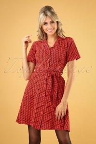 Bush Swing Dress Années 60 en Rouge Orange